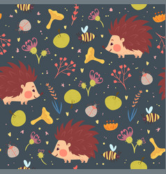 Hedgehogs and plants seamless pattern vector