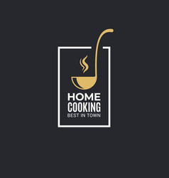 home cooking logo with ladle on black background vector image