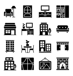 Home interior glyph icons pack vector