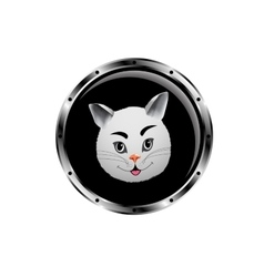 Image cat rocket porthole vector