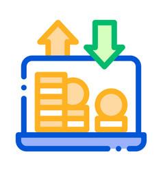 internet bank laptop coin thin line icon vector image
