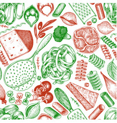 italian pasta wits additions seamless pattern vector image