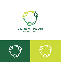 Leaf recycle tech logo vector