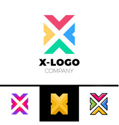 letter x logo design concept with four arrow vector image