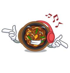 Listening music bulgogi in a cartoon shape vector
