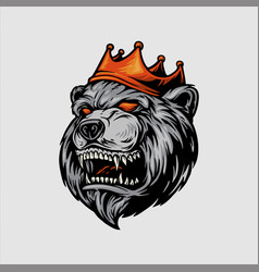 logo angry bear with red crown mascot vector image