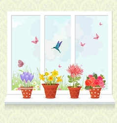 lovely flowers planted in ceramic pots on a vector image