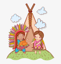 Man and woman indigenous with turkey and camping vector
