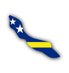 map and flag of curacao vector image