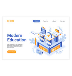 modern education isometric landing page template vector image