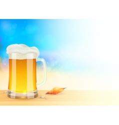 Mug light beer on summer sea blurred background vector