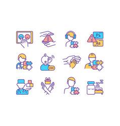 Neurodevelopmental disorders rgb color icons set vector