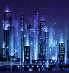 night city with neon glow vector image