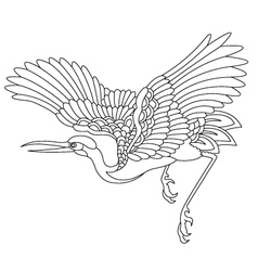 Oriental stork bird tattoo vector