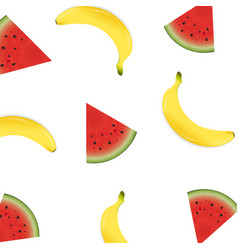 poster with banana and watermelon vector image