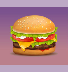 realistic hamburger vector image