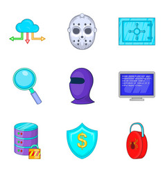 Safety icons set cartoon style vector
