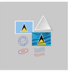 Saint lucia flag postage stamp set isolated on vector