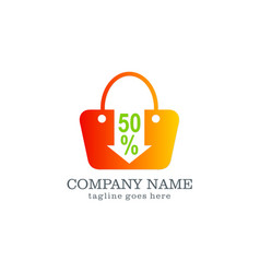 Sale discount bag logo design vector