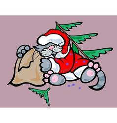 Santa cat vector