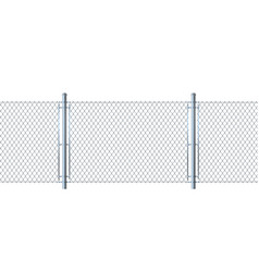 Seamless fence made of metal wire mesh vector