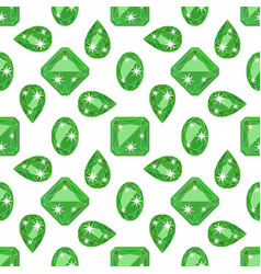 Seamless pattern with precious gem emerald vector