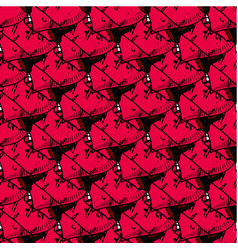 seamless patterns with doodle hearts in hats vector image