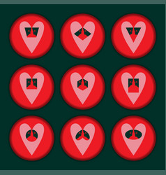 Set hearts red vector