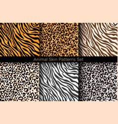 set of animal seamless prints vector image