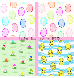 Set of easter seamless patterns eps 10 vector