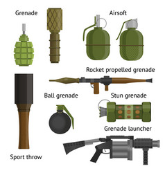 Set of military weapons and shotgun vector