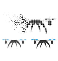 Shredded dot halftone rotorcraft icon vector
