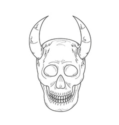 sketch of the skull with horns vector image