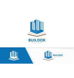 Skyscraper and open book logo combination vector