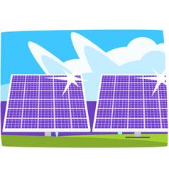 Solar power plant ecological energy producing vector