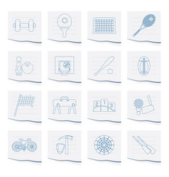 Sports gear and tools icons on a piece of paper vector