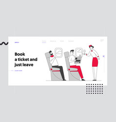 Stewardess and passenger in cabin plane website vector