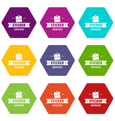 sticker stationery icons set 9 vector image