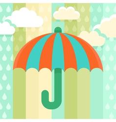 Striped umbrella and rain drops vector