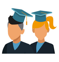 students in graduation avatar vector image