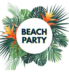 Summer tropical flyer with exotic palm leaves vector