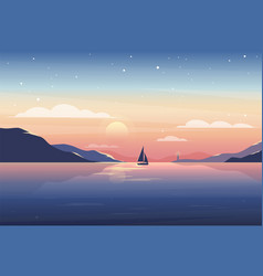 sunset nature landscape with lighthouse vector image