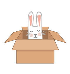 surprise craftboard box with happy easter bunny vector image