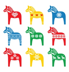 Swedish Dala Dalecarlian horse with winter style vector