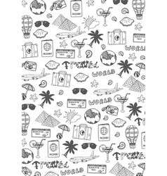 Travel hand-draw doodle backround tourism and vector