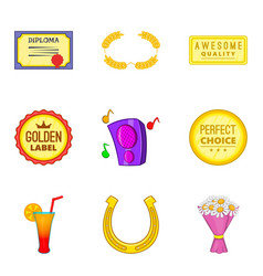 Tribute icons set cartoon style vector