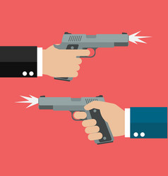 two hands holding handguns vector image