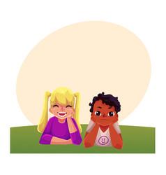 two kids black african boy caucasian girl lying vector image