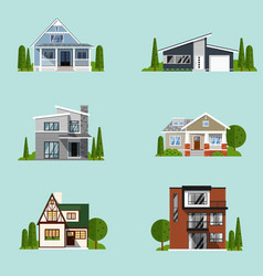 Vacation houses in rural area set vector