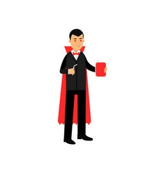 Vampire character standing with a flask of blood vector